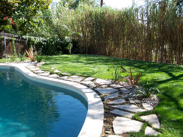 Mediterranean Style Backyard With Pool : Pool Patio Conversion  Backyard mediterraneanpool