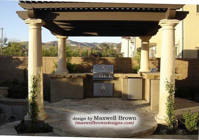Pool Pavilion Outdoor Kitchen Mediterranean Pool