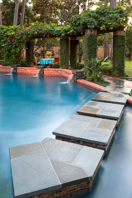 Pool remodel eclectic pool houston by exterior for Pool design houston tx