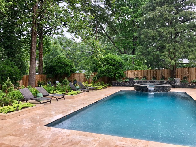 Inspiration for a contemporary pool remodel in Charlotte