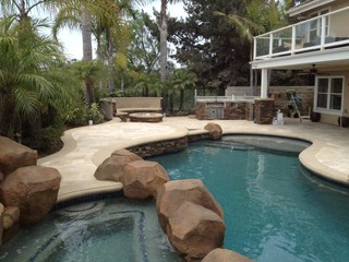 Pool Spa Amp Backyard Remodel Baja Shelf Paving Firepit