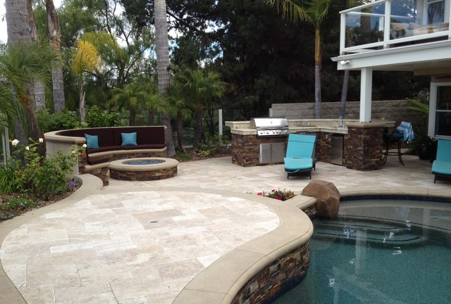 Backyard With Pool And Firepit : Pool, Spa & Backyard Remodel (baja shelf, paving, firepit, outdoor