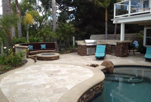 Pool, Spa & Backyard Remodel (baja shelf, paving, firepit, outdoor kitchen, BBQ) - Mediterranean ...