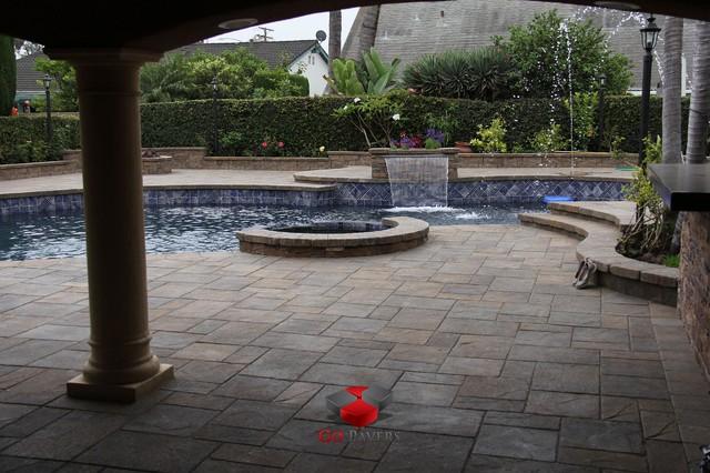 Pool Spa Redo Patio Steps Bbq Fire Pit Walls Driveway View 1