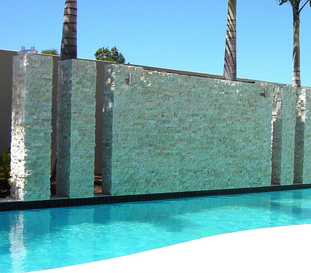 Pool Stacked Stone Water Feature Modern pool