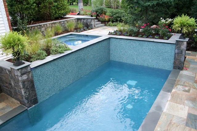 Glass Tile Swimming Pool Water Feature - eclectic - pool - new ...