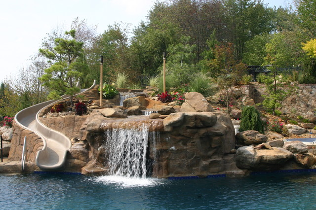 Pool Waterfall And Slide Cleveland By Enviroscapes