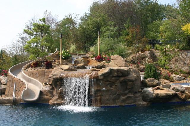 Pool Waterfall And Slide Pool