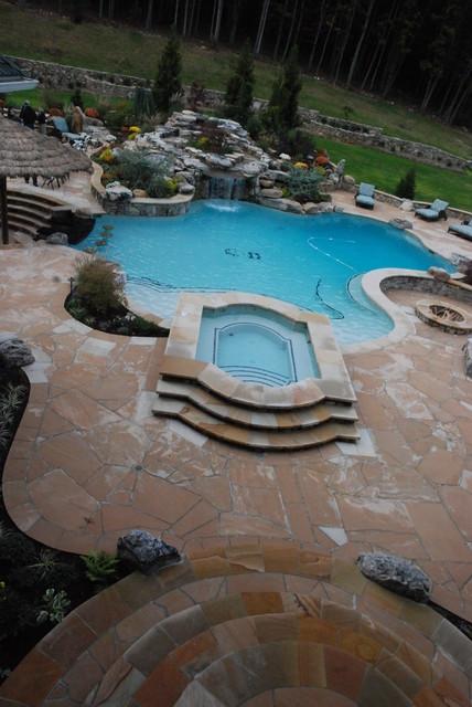 Pool, Waterfall & Spa modern-pool