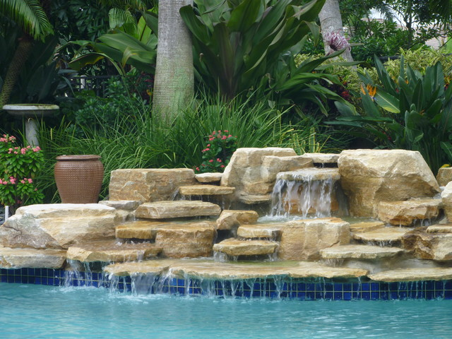 Pool waterfall delray beach florida by matthew giampietro for Garden pool fountains