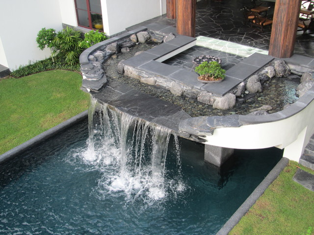 Pool Waterfalls And Black Slate, Lava Rock Stream Bed Water Feature  Manalapan, F Contemporary