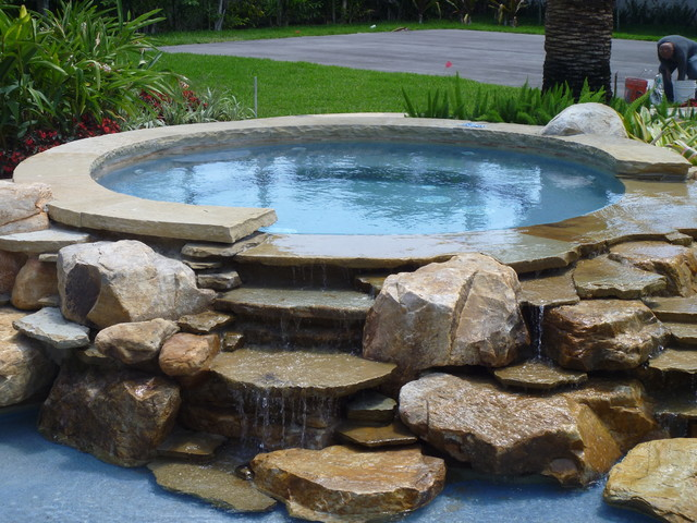 Pool waterfalls jacuzzi water feature by matthew for Garden spas pool germantown tn