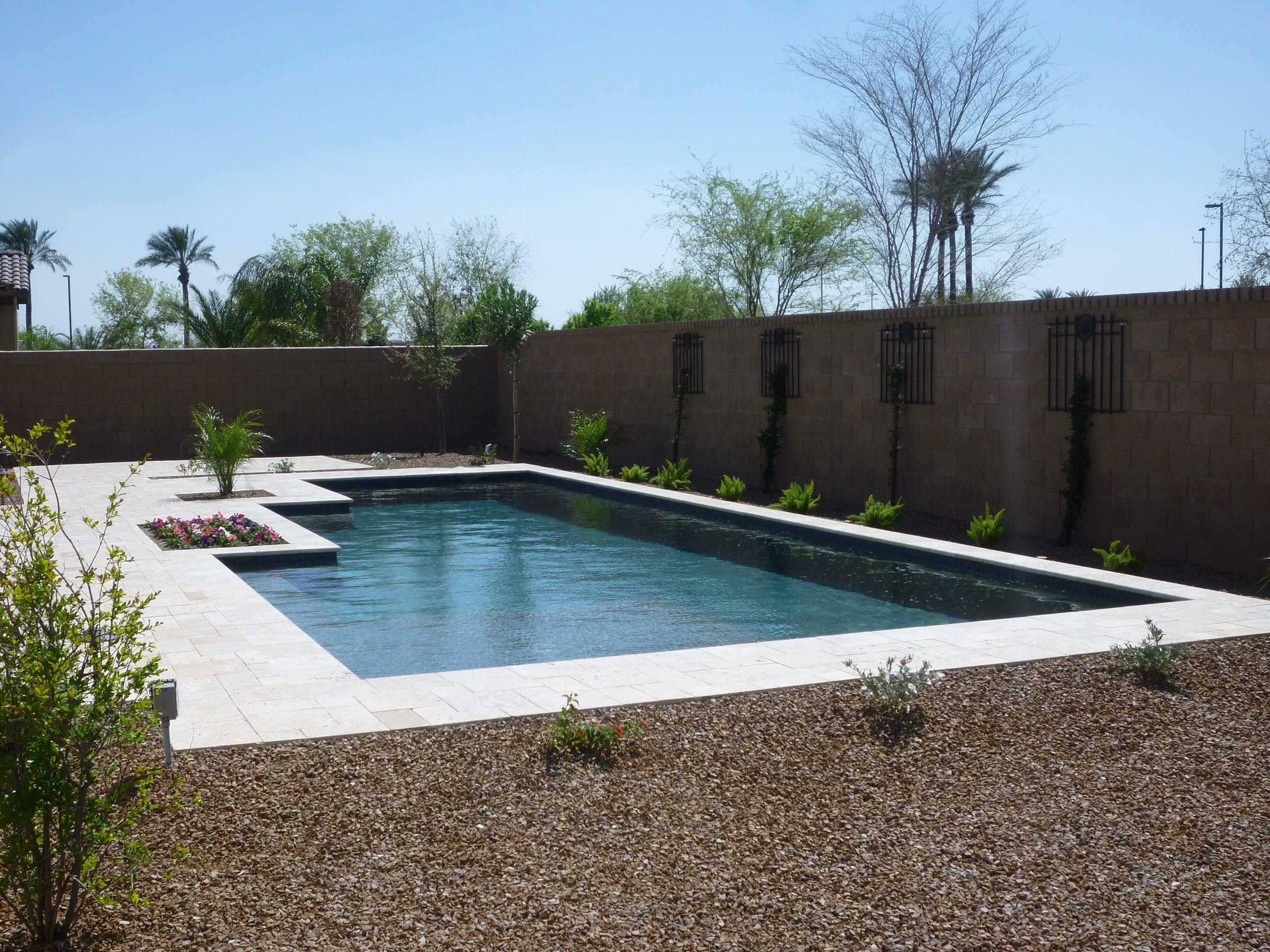 Pool with Travertine Deck & Landscape