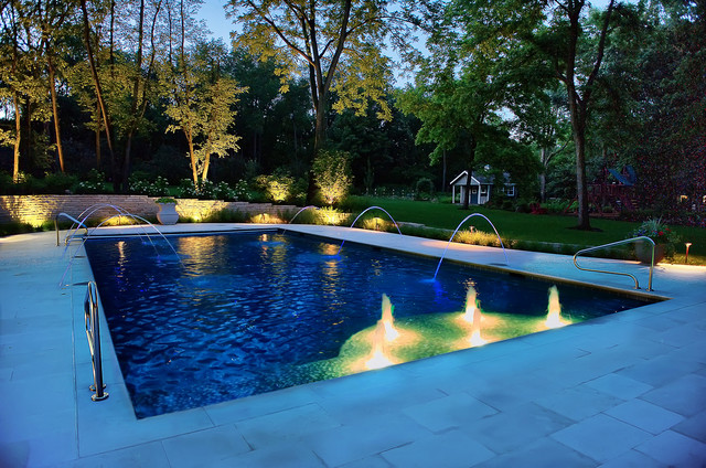 Pool With Water Features And Fiber Optic Stars