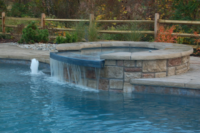 Pool with waterfall water feature attached spa for Pool and spa show wa