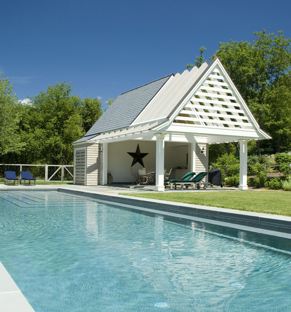 Pool house - large contemporary backyard stone and rectangular lap pool house idea in Boston