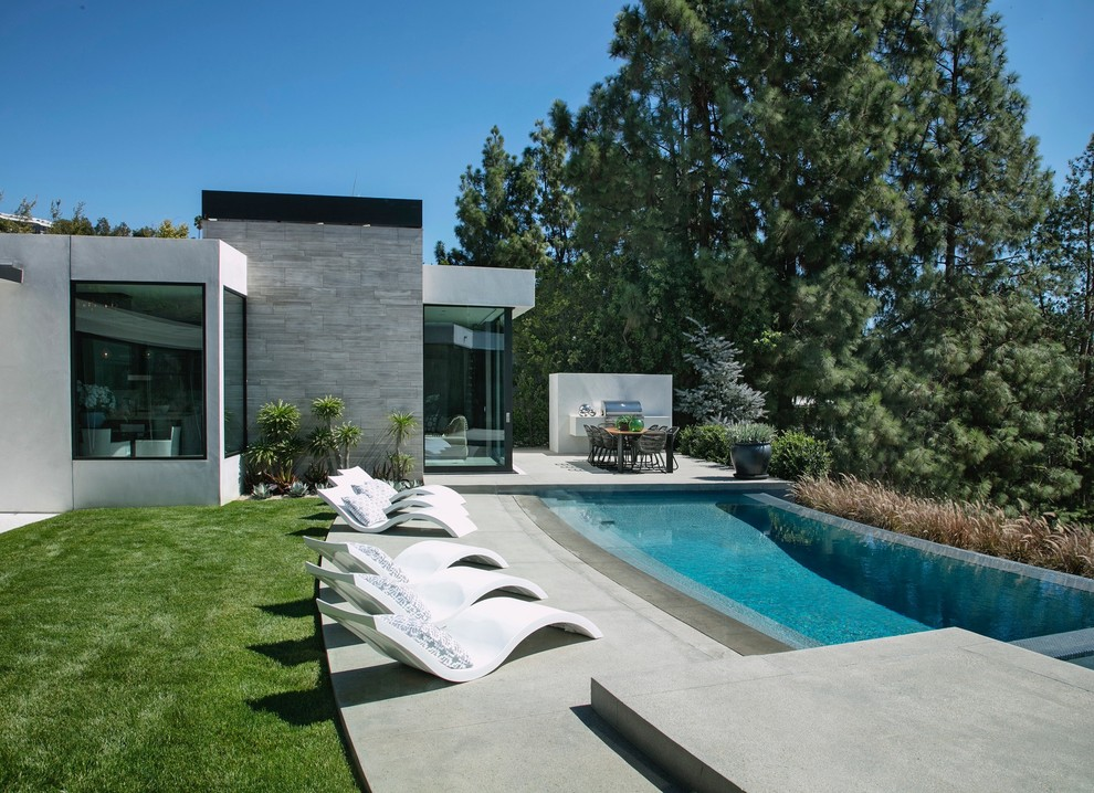 Inspiration for a modern backyard concrete and custom-shaped infinity pool remodel in Los Angeles