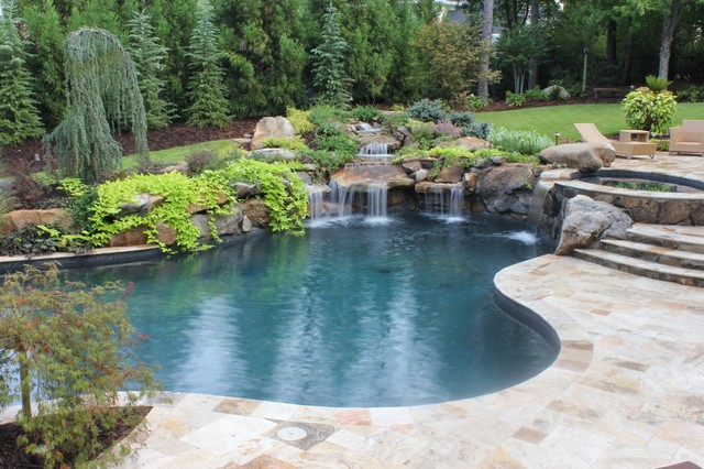 Pools and waterfalls traditional pool atlanta by for Pool waterfall landscape design