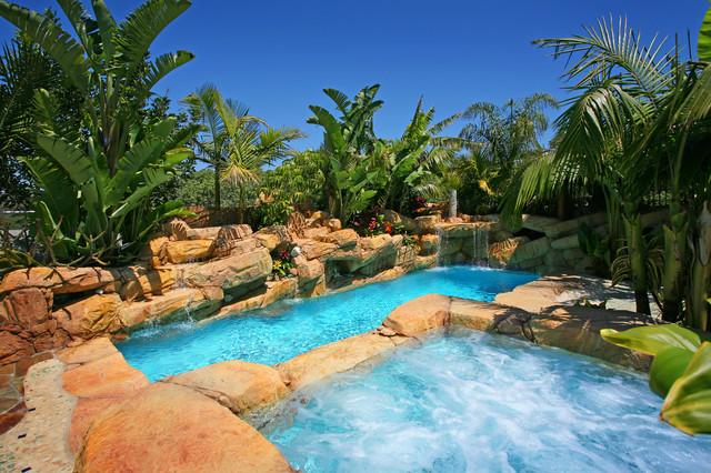 Pools tropical pool orange county by v i for Pool design questions