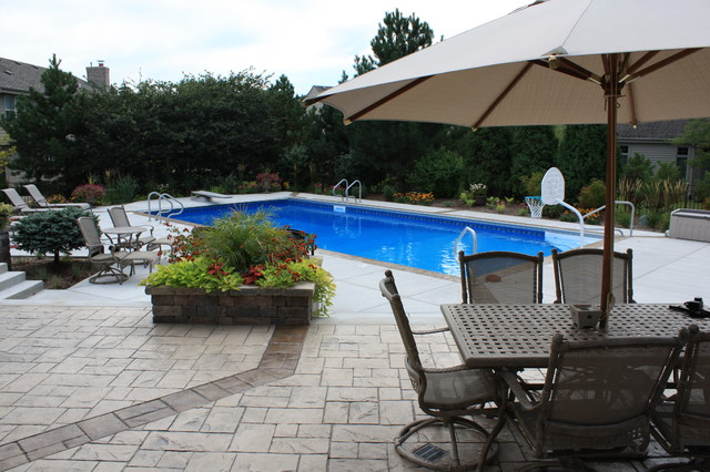 poolscape w/fire pit,bar,spa,unilock wall and column,inground pool traditional-pool