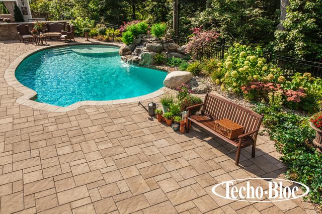 Pool table texture - Poolside Blu Slab By Techo Bloc Traditional Pool