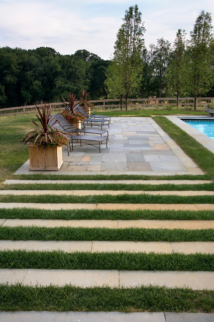 Poolside Patio With Horizontal Band Paving Contemporary Pool