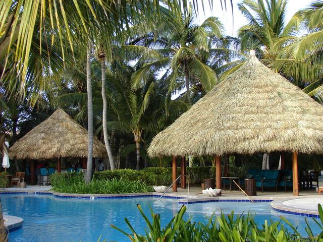 Poolside tiki hut cabanas for Pool hut designs