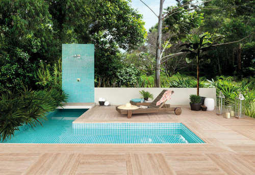 Outdoor shower by a pool