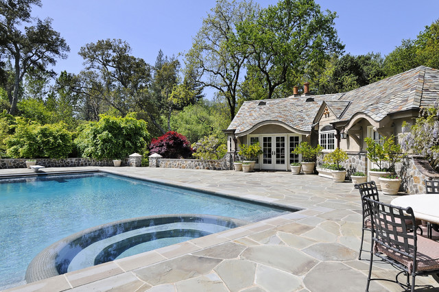 Portola Valley French Country Custom Home traditional-pool