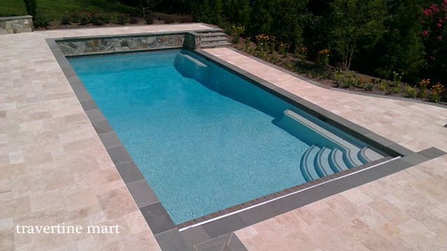 Walnut Travertine Pavers Traditional Pool Baltimore