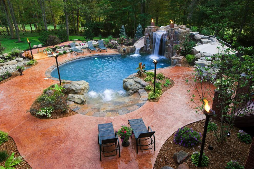 Example of an island style custom-shaped natural pool design in Cincinnati