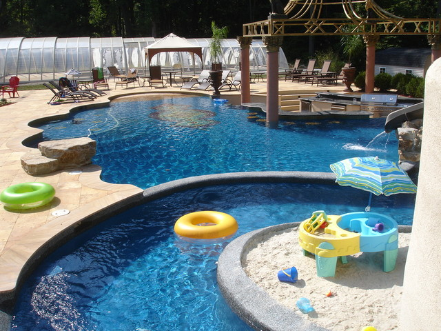 With Custom Pool Slide Lazy River Grotto Contemporary Pool