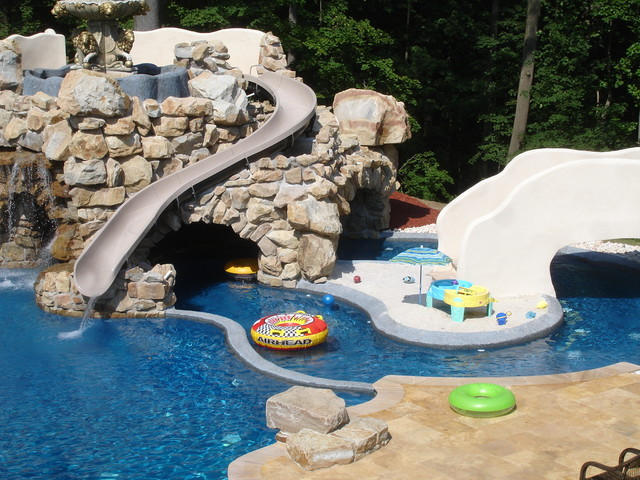 Awesome Private Residence With Custom Pool, Slide, Lazy River U0026 Grotto Contemporary  Swimming