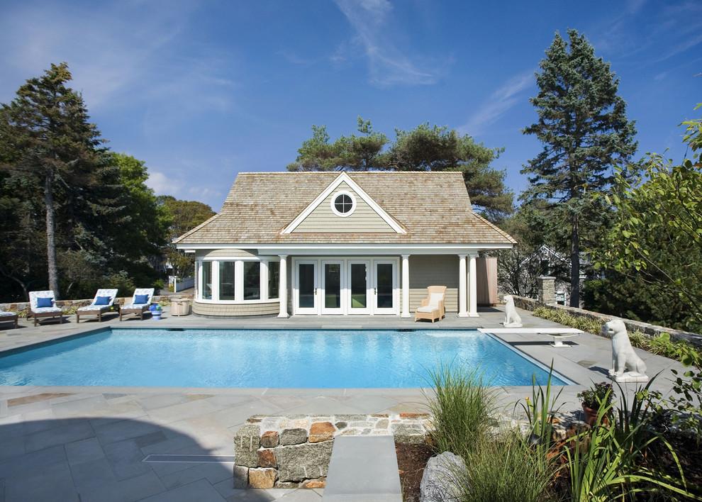 Example of an ornate rectangular pool house design in Boston