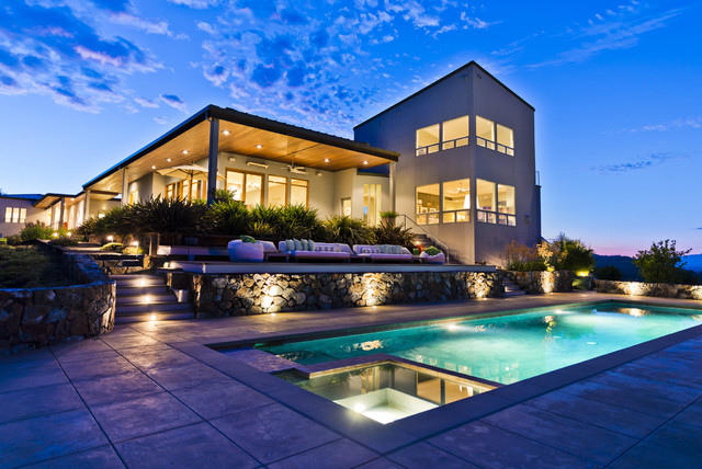Property at Night contemporary-pool