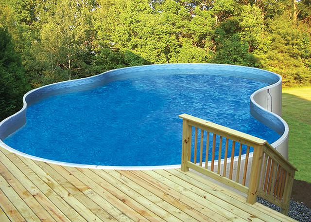 Photo Of A Mid Sized Transitional Backyard Custom Shaped Aboveground Pool In Detroit With