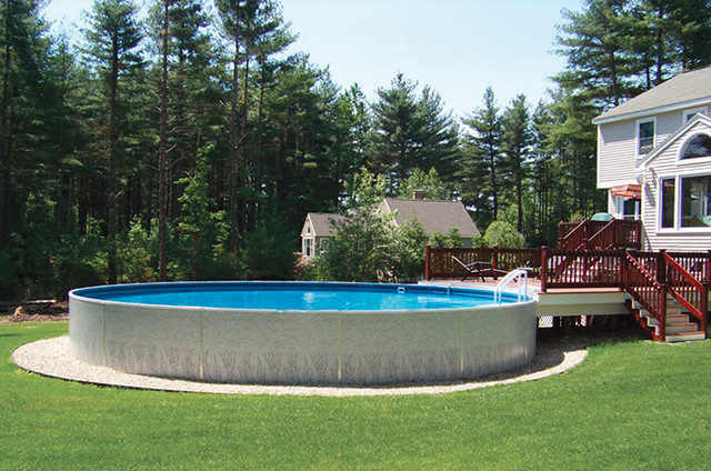 Radiant Round Above Ground Pool With Wood Deck Transitional Swimming Pool Detroit By Pools Spas A Go Go