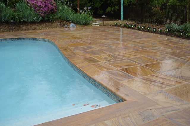 Rainbow flagstone contemporary pool dc metro by Flagstone pavers around pool