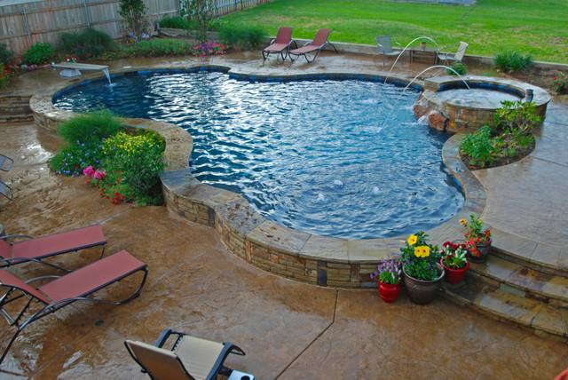 Raised Beam Swimming Pool Mediterranean Pool Dallas
