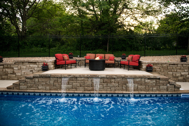 Raised Patio And Fire Pit Traditional Pool Kansas