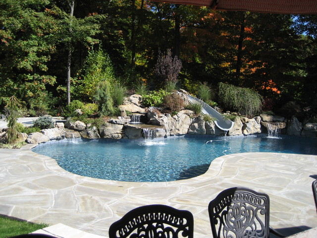 Gunite Pool Design Ideas 1000 images about pool on pinterest fiberglass pools small pools and fiberglass swimming pools Ramsey Nj Free Form Gunite Pool With Slide And Custom Cabana Eclectic Pool