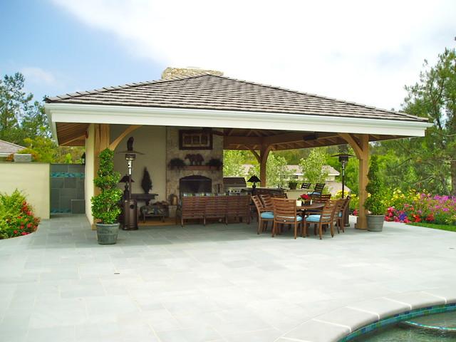 Rancho santa fe pool bluestone estate driveway pool for Pool pavilion plans