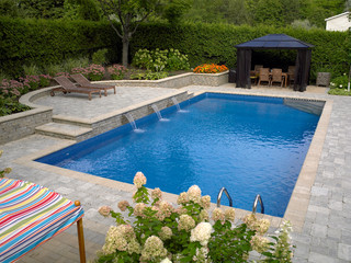 Rectangle pools with sheer descent waterfall for Pool design types