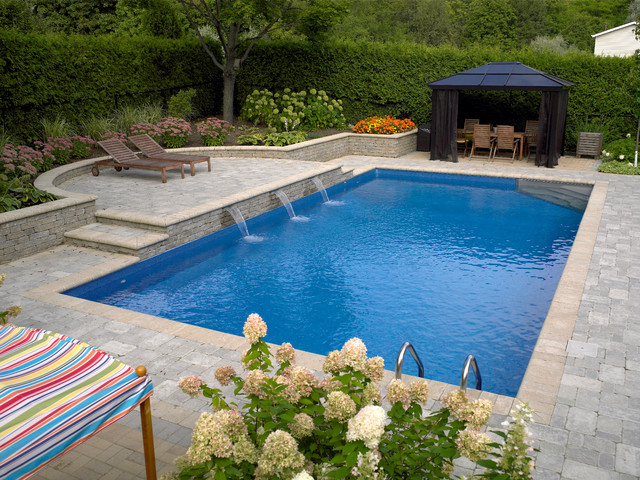 rectangle pool with sheer descent water feature modern pool