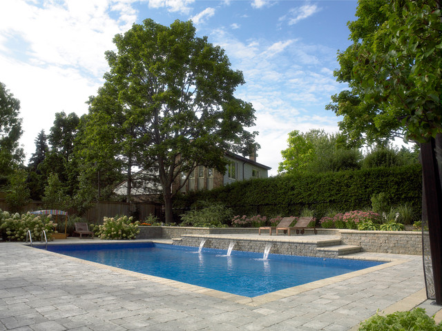 rectangle pool with sheer descent water feature modern swimming pool and hot - Rectangle Pool With Water Feature