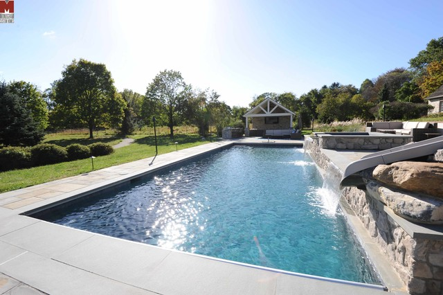 Rectangle Inground Pools With Hot Tubs Salt Water Pool Waterslide And
