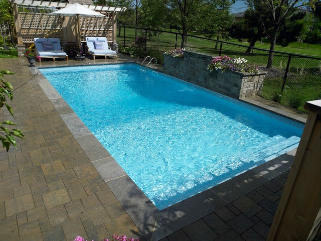 Rectangle vinyl liner over step inground pool for 16x32 pool design
