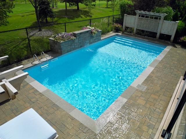 Rectangle Vinyl Liner Over Step Inground Pool Modern