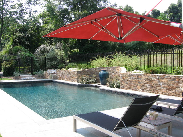 Rectangle with water feature traditional pool philadelphia by pebble pools inc - Rectangle pool with water feature ...