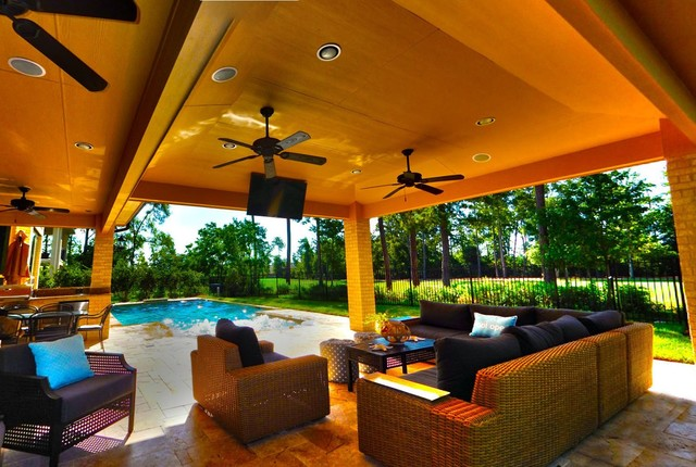 Rectangular Pool 5 with Pencil Jets and Covered Patio ... on Covered Pool Patio Ideas id=77769